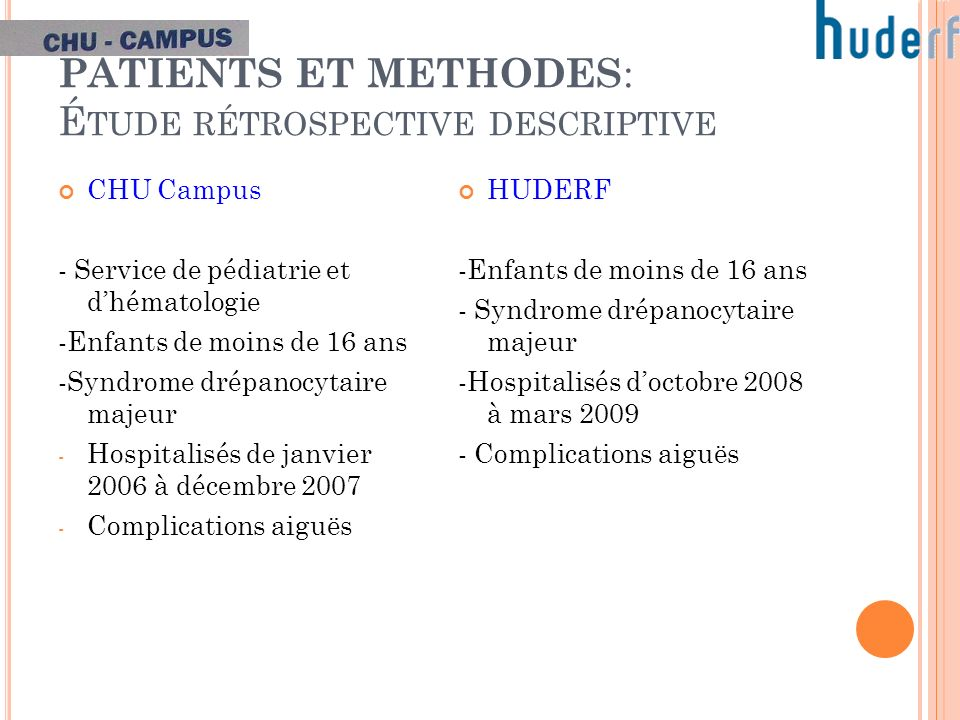 PATIENTS ET METHODES: Étude rétrospective descriptive