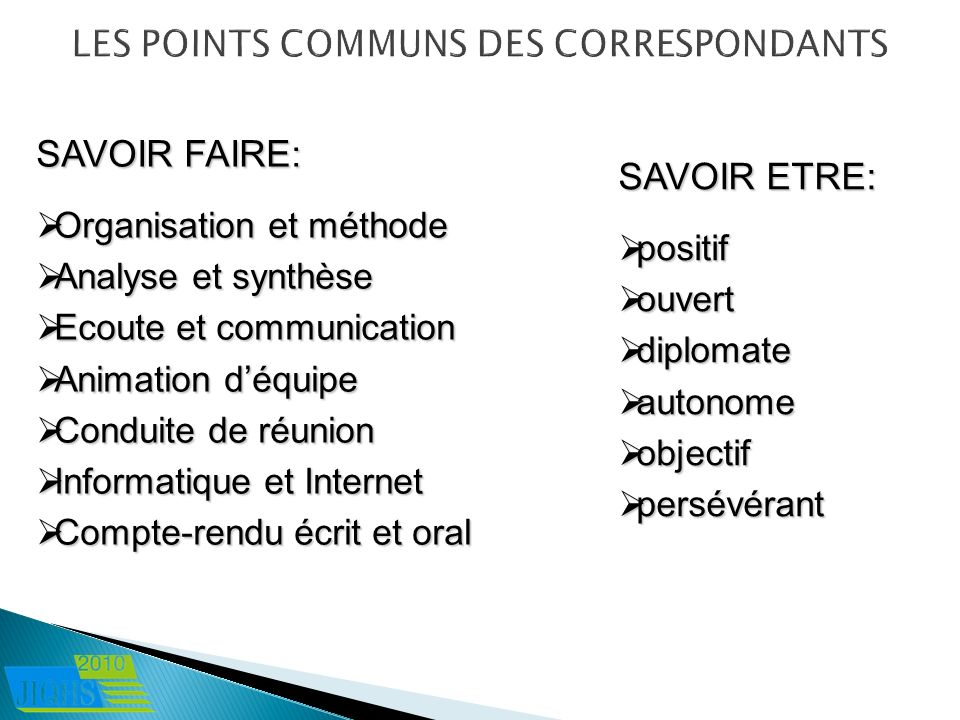 LES POINTS COMMUNS DES CORRESPONDANTS