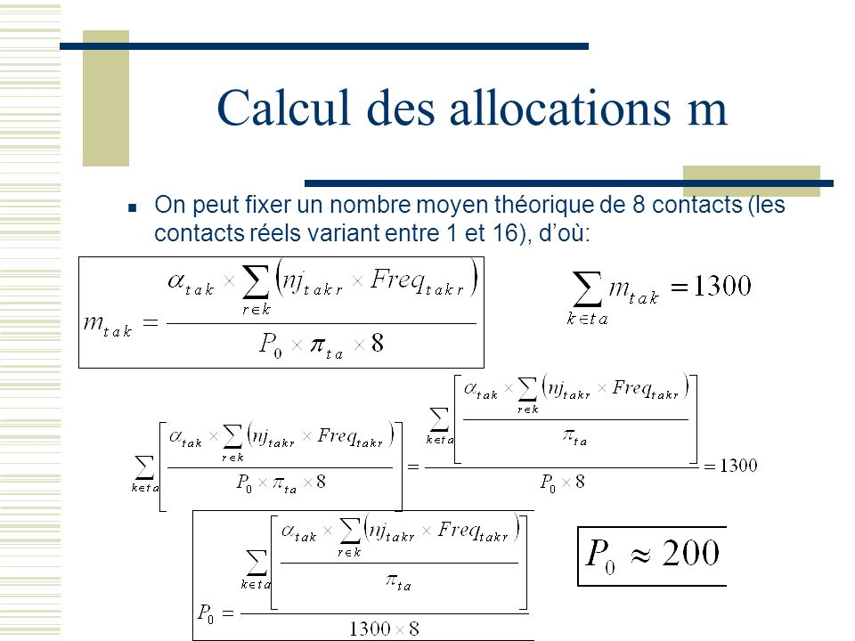 Calcul des allocations m