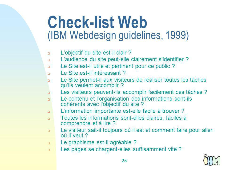 Check-list Web (IBM Webdesign guidelines, 1999)