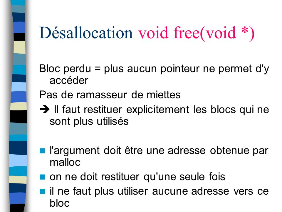 Désallocation void free(void *)