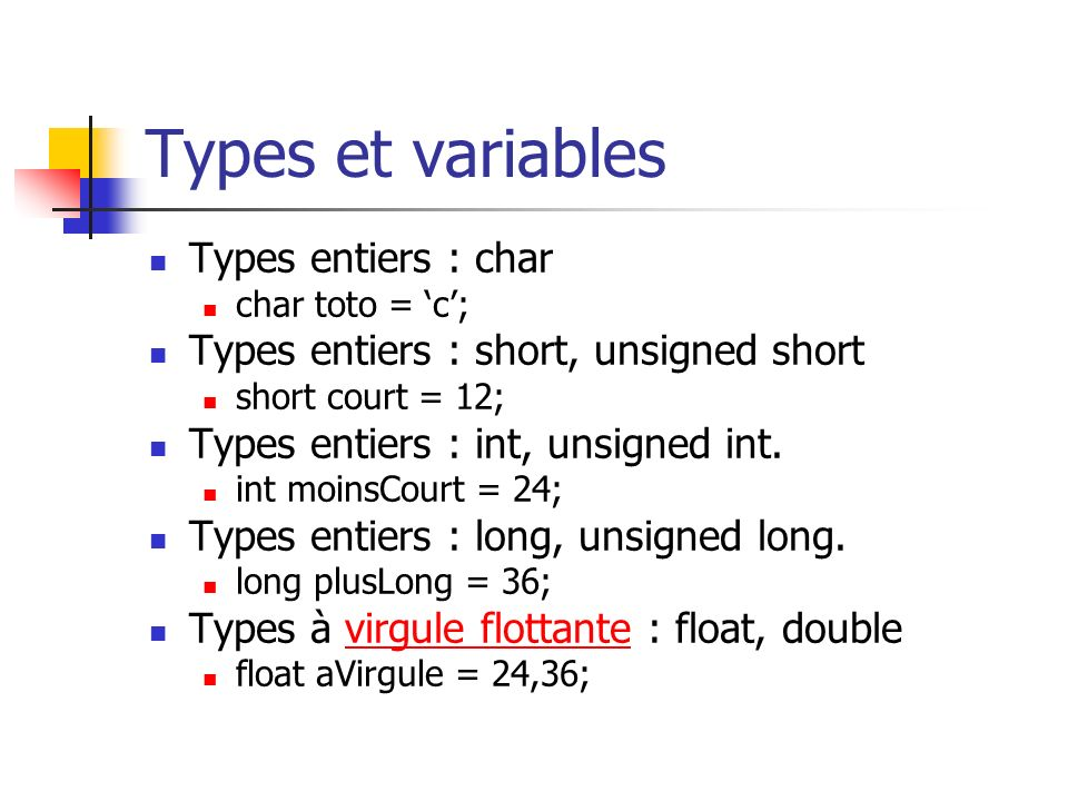 Types et variables Types entiers : char