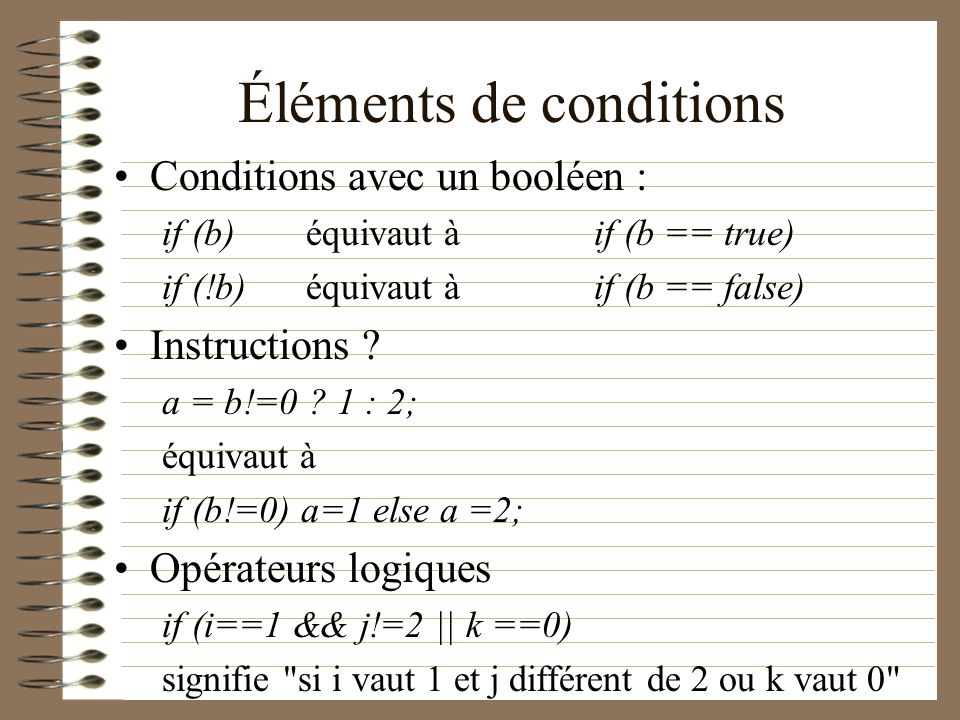 Éléments de conditions