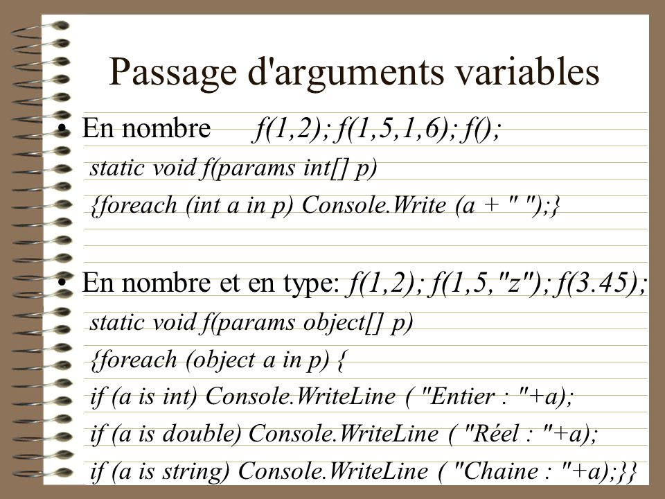 Passage d arguments variables