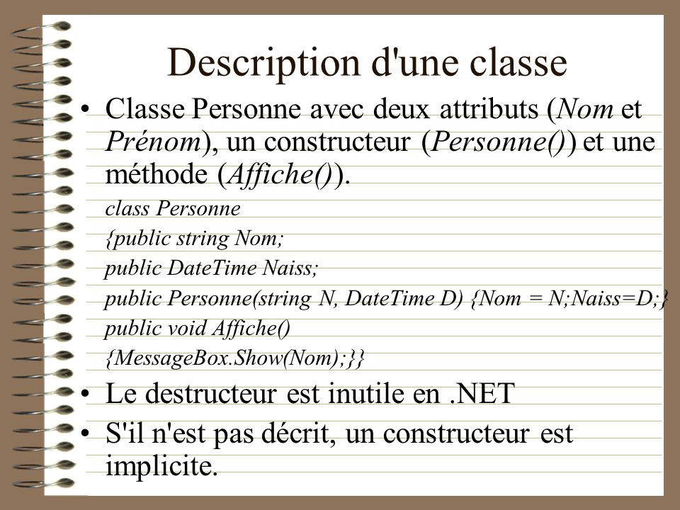 Description d une classe