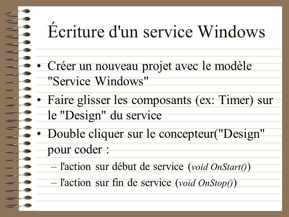 Écriture d un service Windows