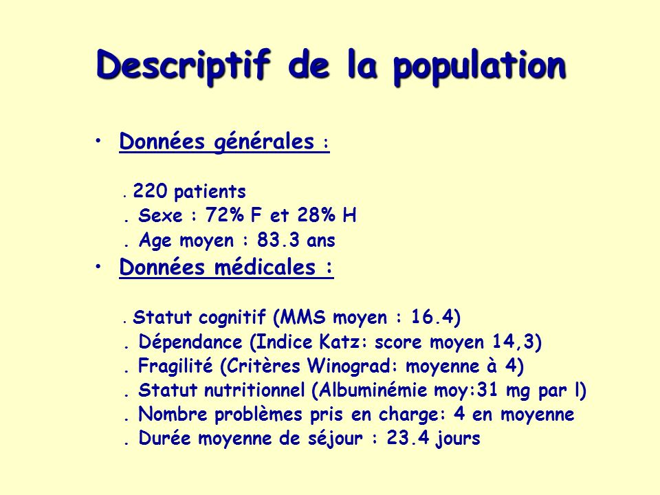 Descriptif de la population