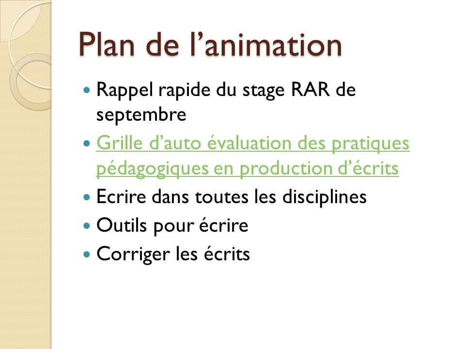 Plan de l'animation Rappel rapide du stage RAR de septembre