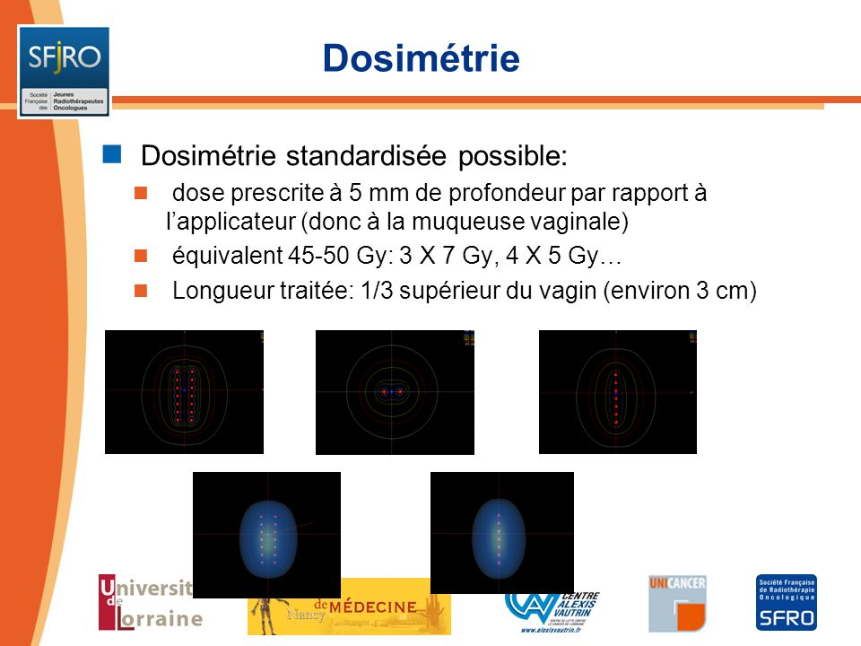 Dosimétrie Dosimétrie standardisée possible: