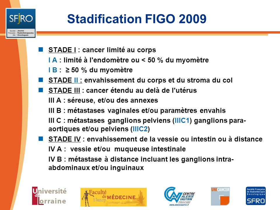 Stadification FIGO 2009 STADE I : cancer limité au corps