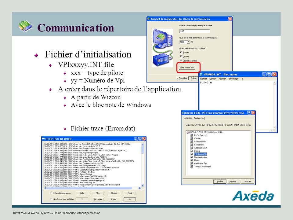 Communication Fichier d'initialisation VPIxxxyy.INT file