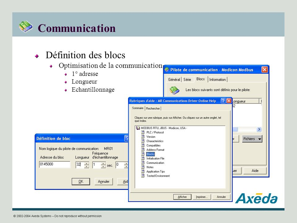 Communication Définition des blocs Optimisation de la communication