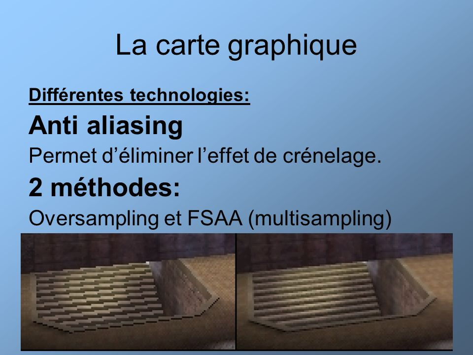 La carte graphique Anti aliasing 2 méthodes: