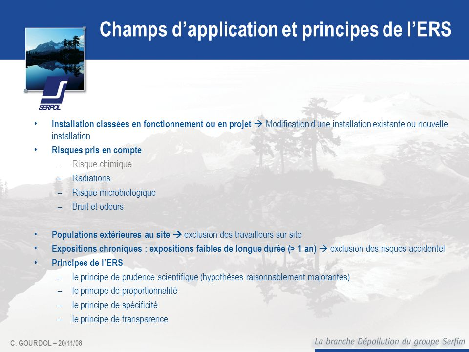 Champs d'application et principes de l'ERS