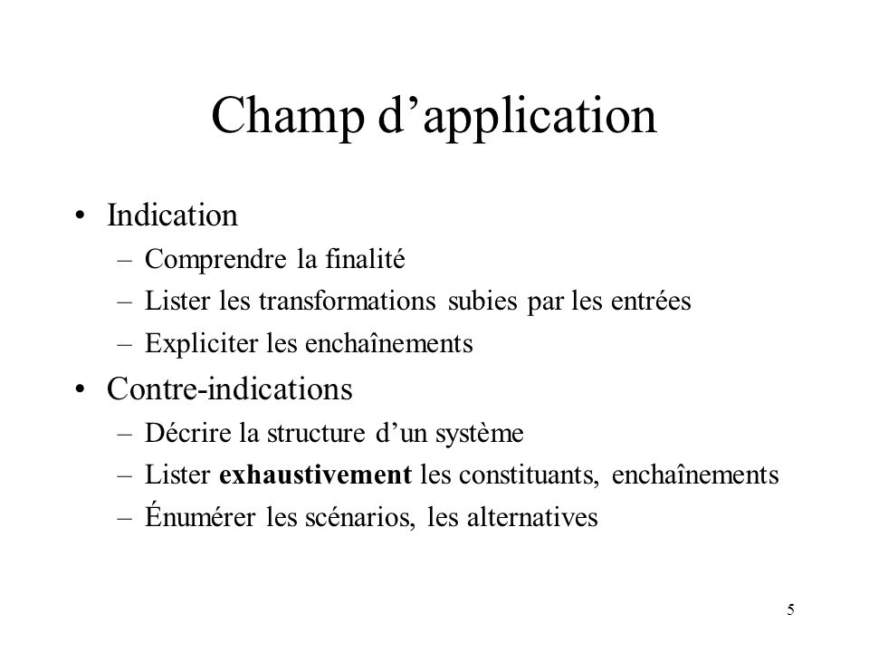 Champ d'application Indication Contre-indications