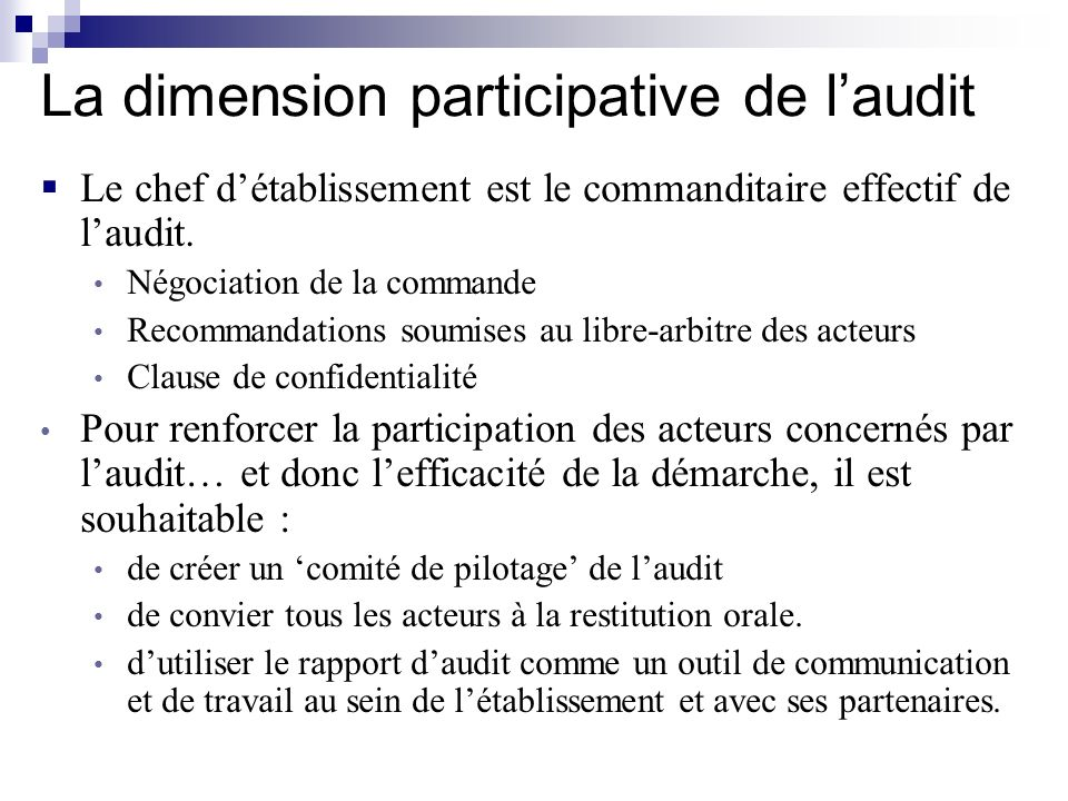 La dimension participative de l'audit