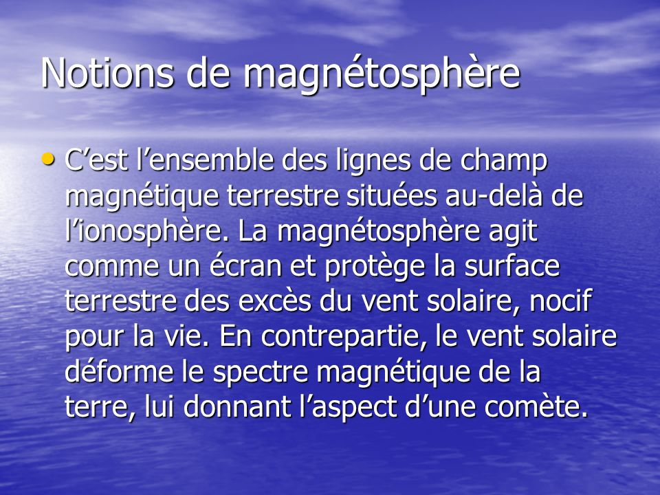 Notions de magnétosphère