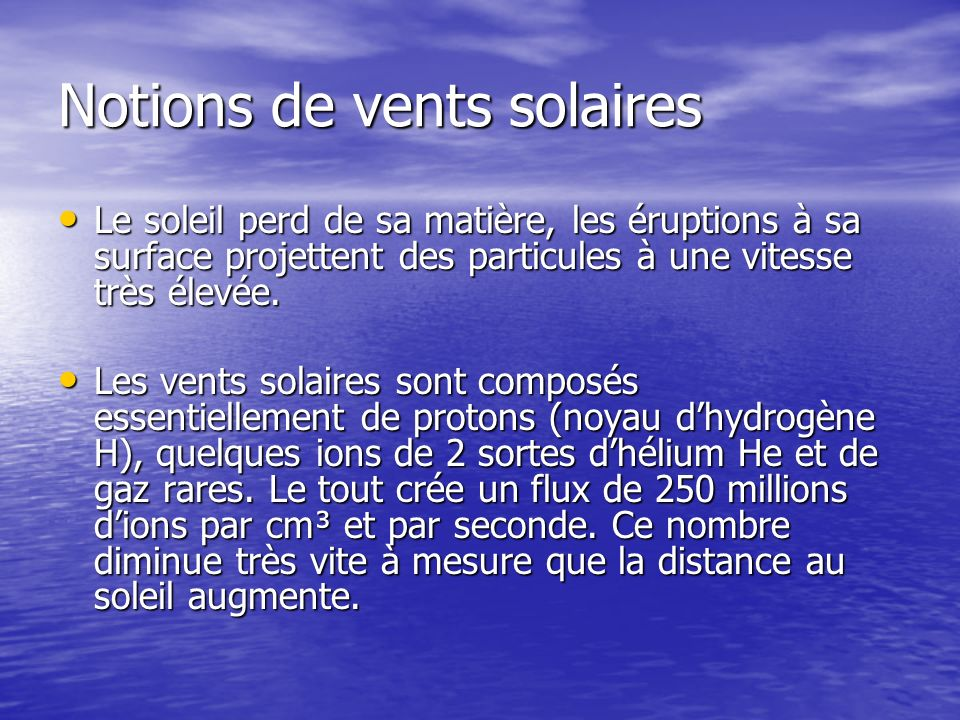 Notions de vents solaires