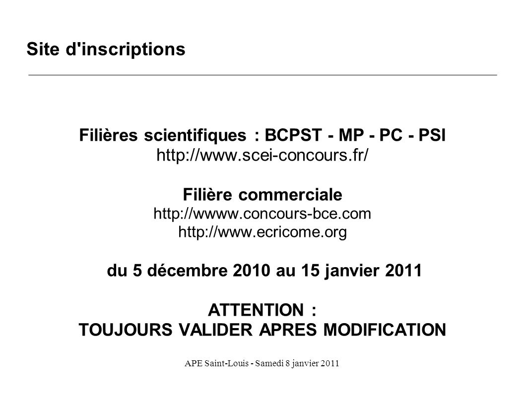 Site d inscriptions Filières scientifiques : BCPST - MP - PC - PSI