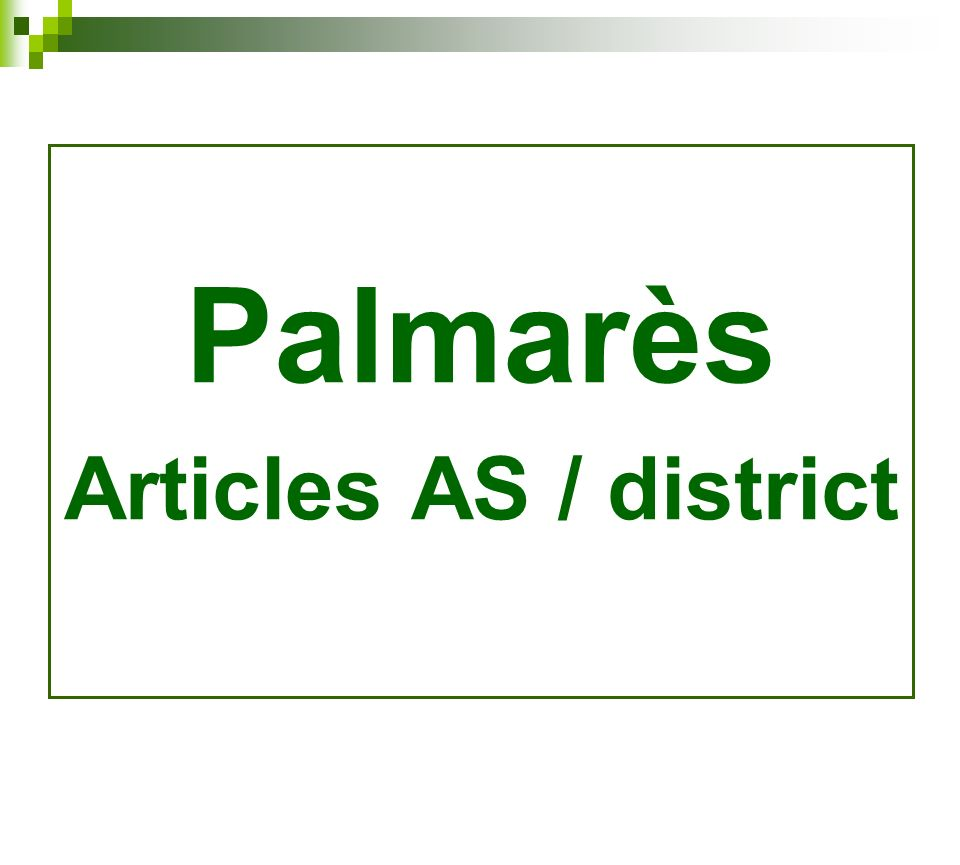 Palmarès Articles AS / district