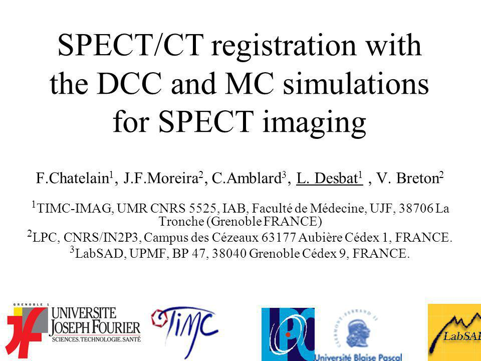 SPECT/CT registration with the DCC and MC simulations for SPECT imaging