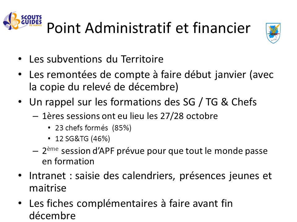 Point Administratif et financier