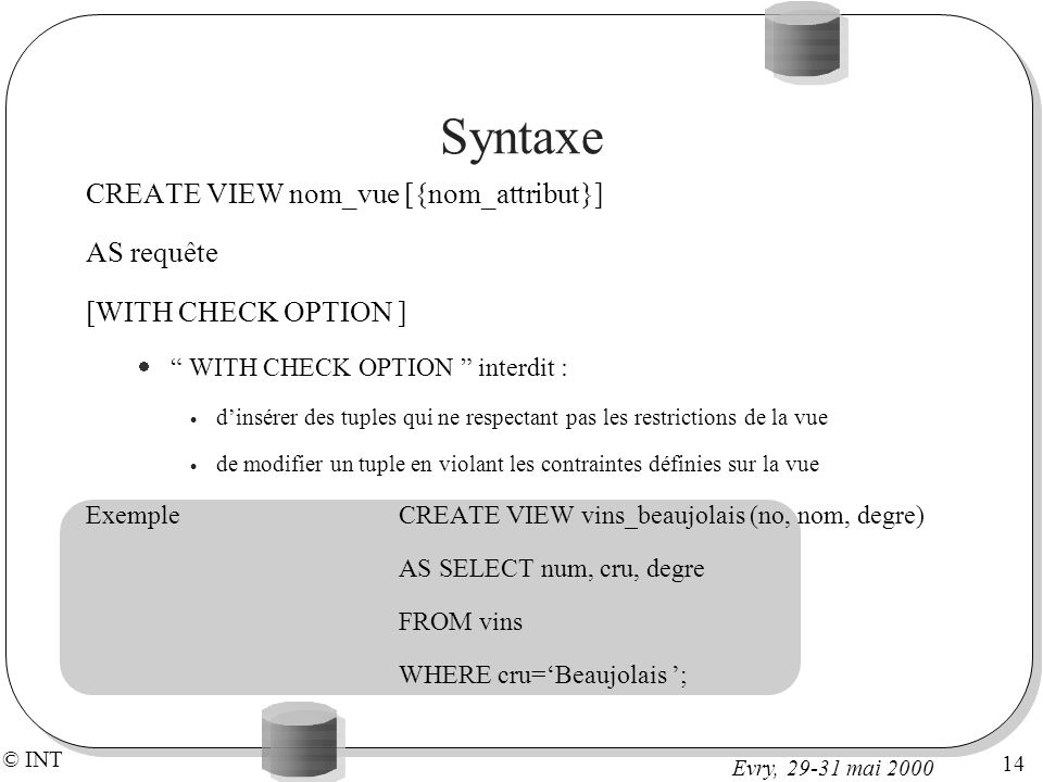 Syntaxe CREATE VIEW nom_vue [{nom_attribut}] AS requête