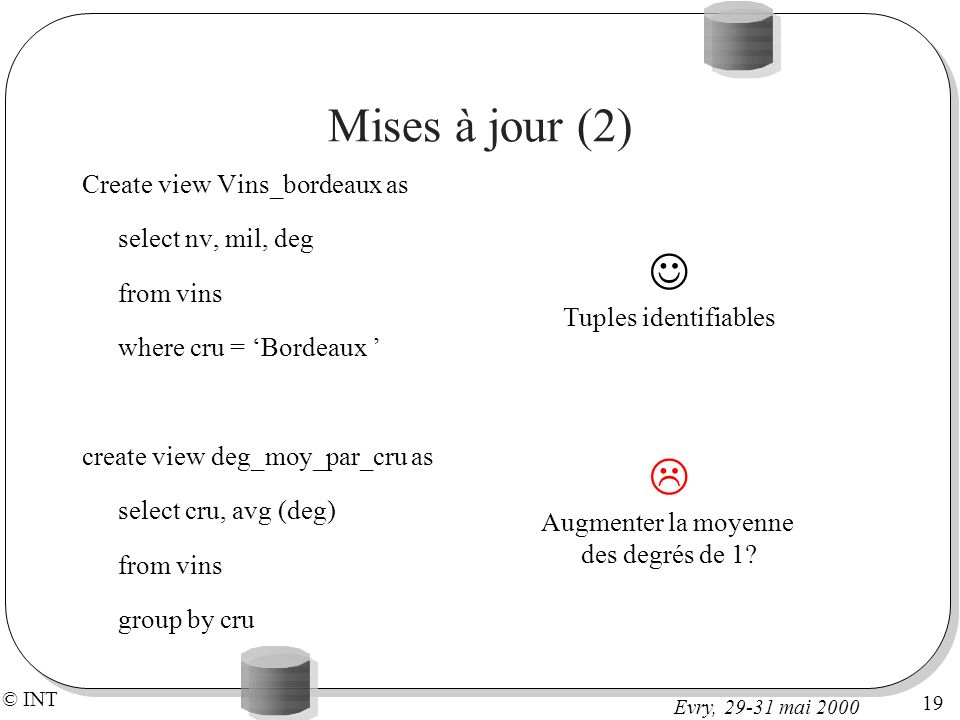 Mises à jour (2)   Create view Vins_bordeaux as select nv, mil, deg