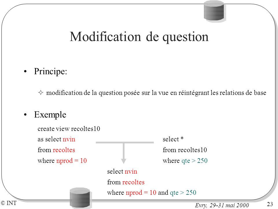 Modification de question