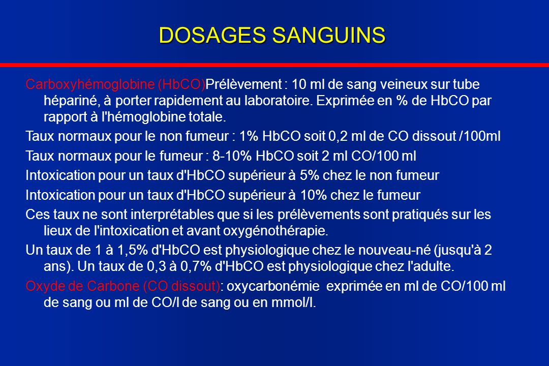 DOSAGES SANGUINS