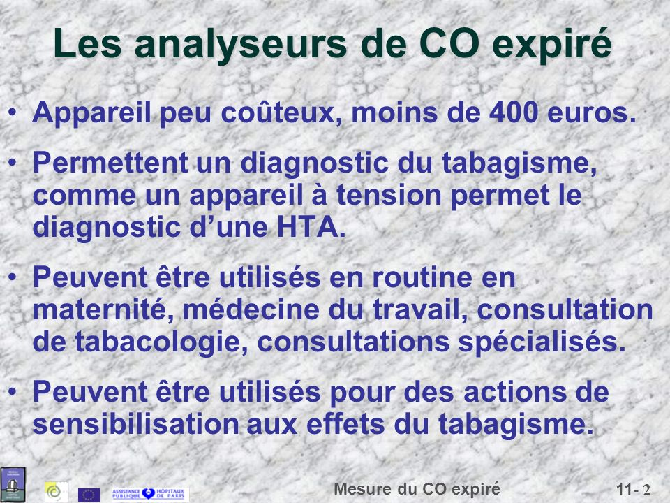 Les analyseurs de CO expiré