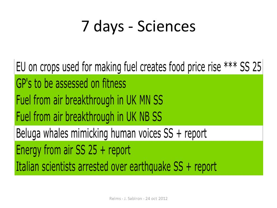 7 days - Sciences Reims - J. Sabiron - 24 oct 2012