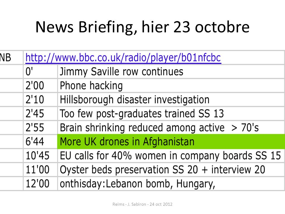 News Briefing, hier 23 octobre