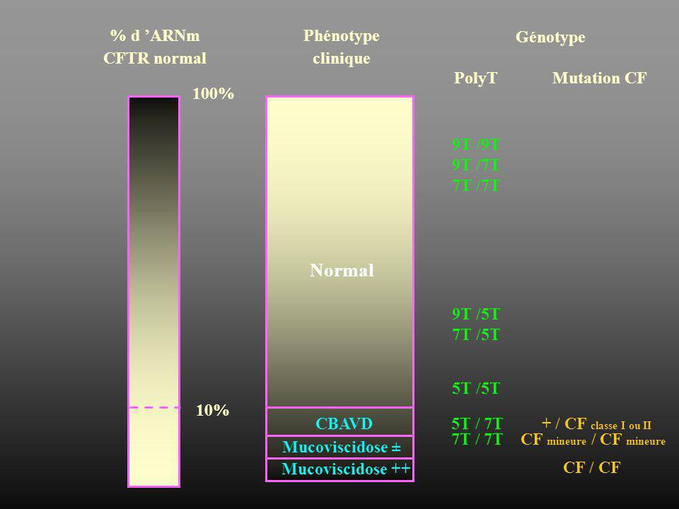 Normal % d 'ARNm CFTR normal Phénotype clinique Génotype