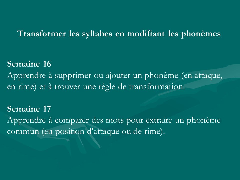 Transformer les syllabes en modifiant les phonèmes