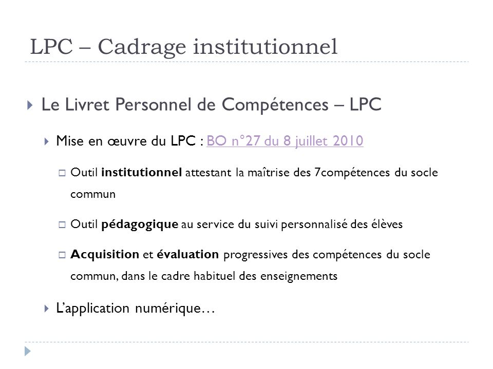 LPC – Cadrage institutionnel