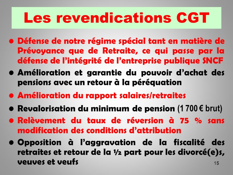 Les revendications CGT