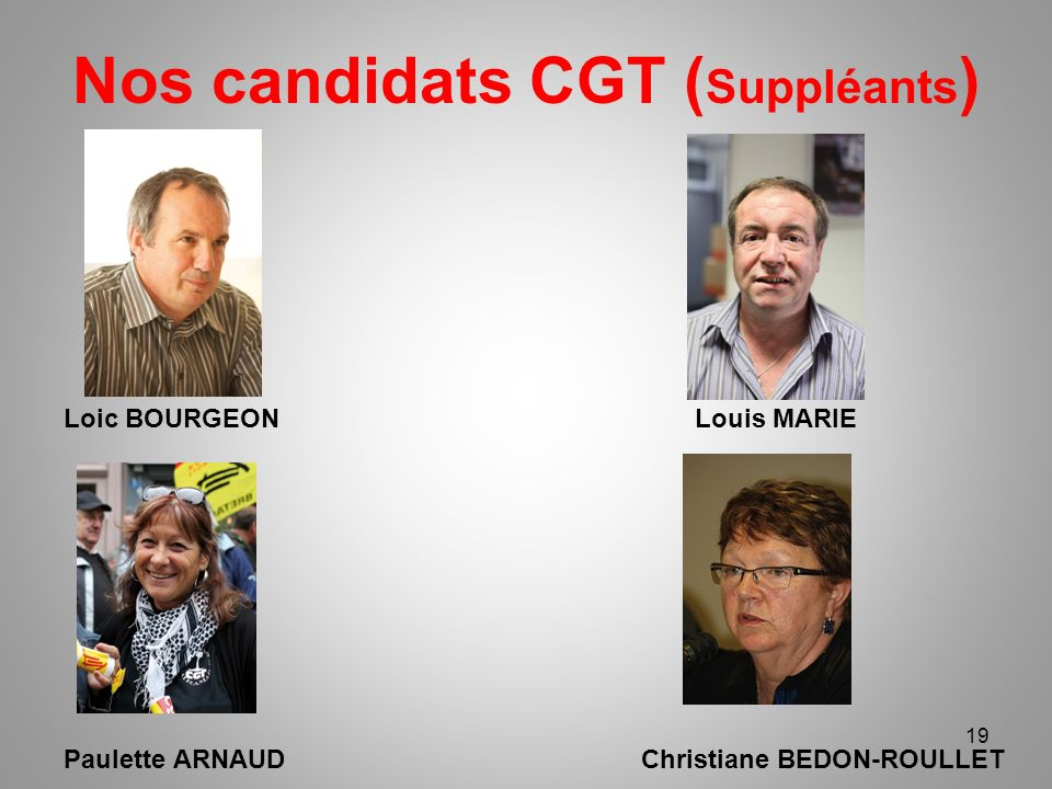 Nos candidats CGT (Suppléants)