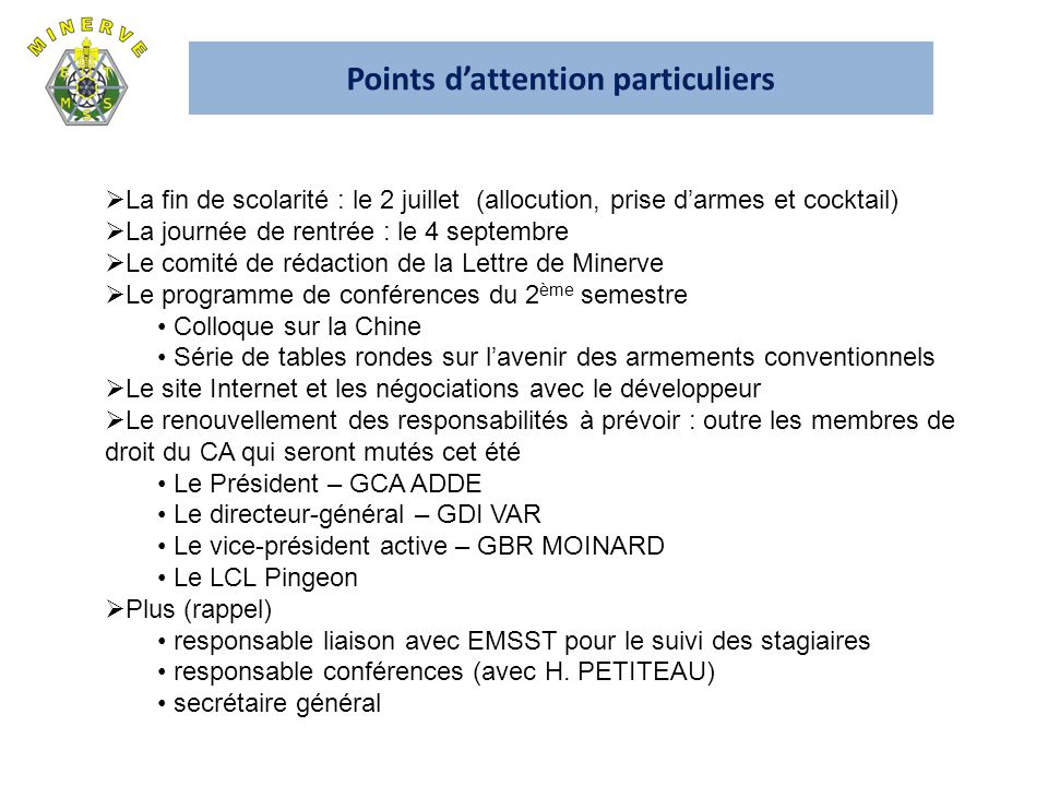 Points d'attention particuliers