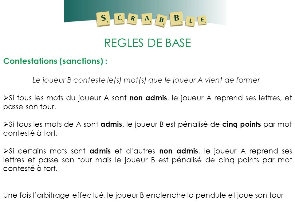 REGLES DE BASE Contestations (sanctions) :