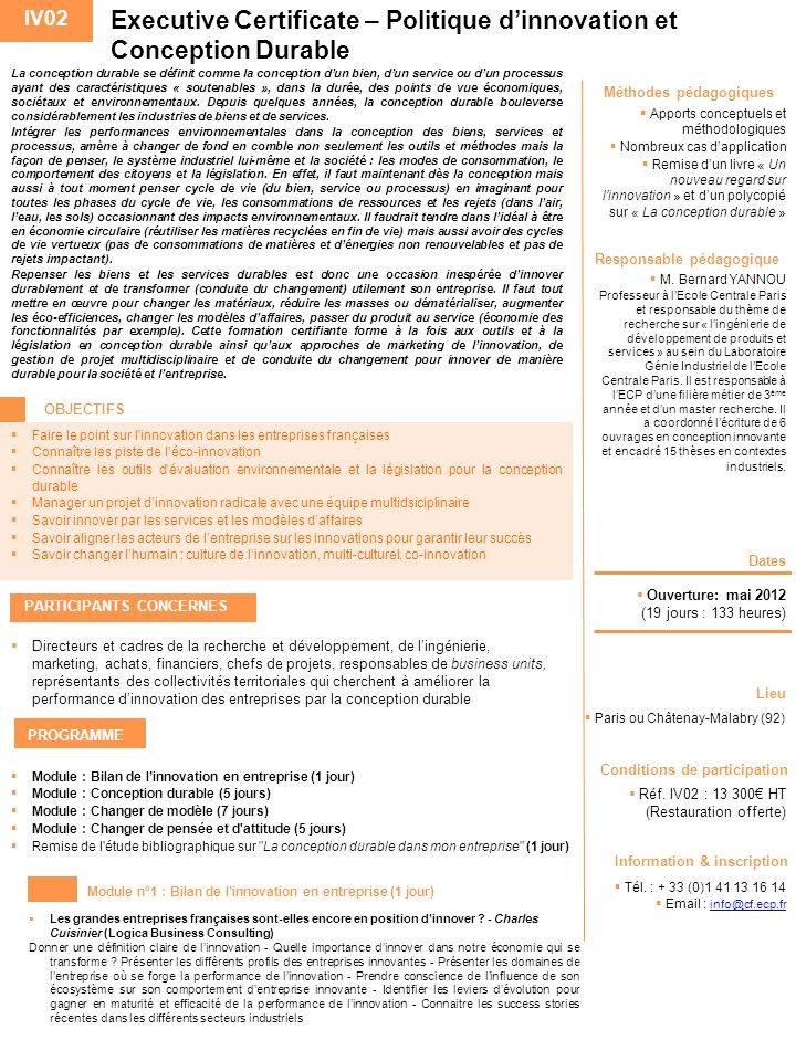 Executive Certificate – Politique d'innovation et Conception Durable