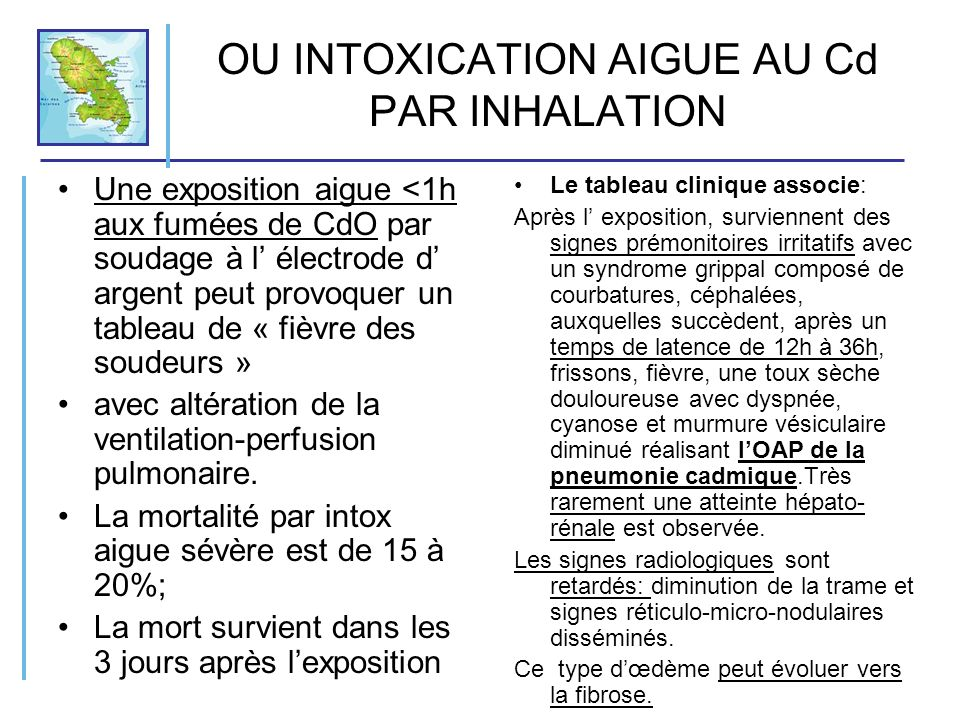 OU INTOXICATION AIGUE AU Cd PAR INHALATION