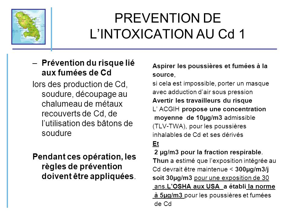 PREVENTION DE L'INTOXICATION AU Cd 1