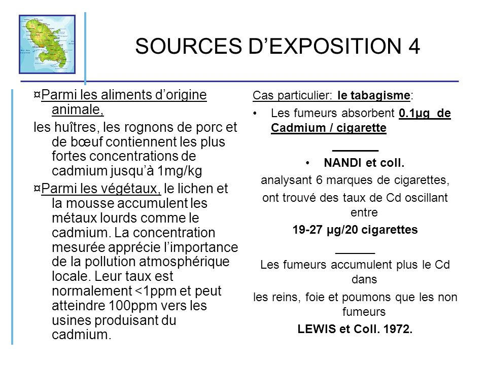 SOURCES D'EXPOSITION 4 ¤Parmi les aliments d'origine animale,