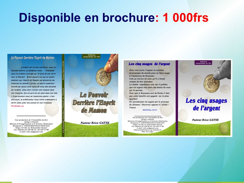 Disponible en brochure: 1 000frs
