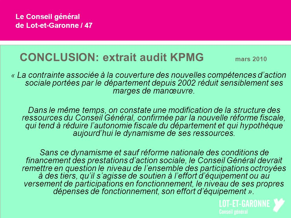 CONCLUSION: extrait audit KPMG mars 2010