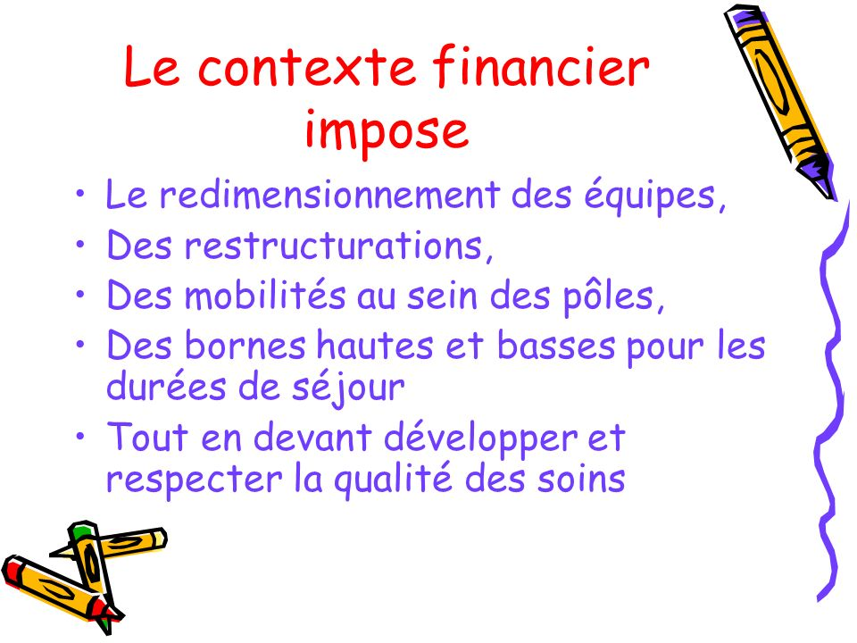 Le contexte financier impose