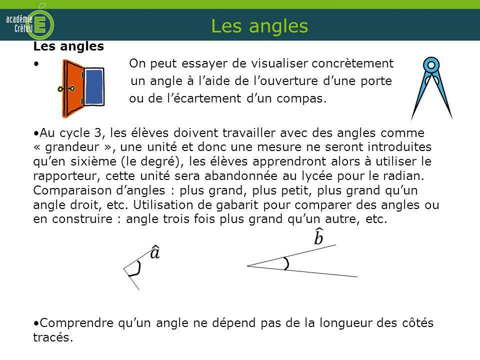 Les angles Les angles On peut essayer de visualiser concrètement