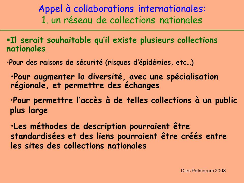 Appel à collaborations internationales: 1