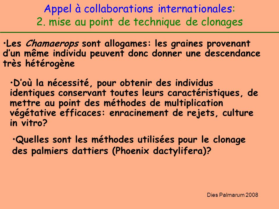 Appel à collaborations internationales: 2